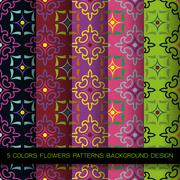 Set of 5 colors patterns with flowers Stock Illustration