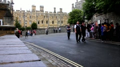 Employees of castle and  unidentified tourists queuing on  Medieval Windsor Cast Stock Footage