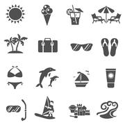 Stock Illustration of Summer And Travel Icons Set