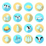 Milk flat icons set Stock Illustration