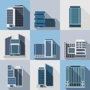 Office Buildings Set Stock Illustration