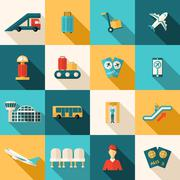 Stock Illustration of Airport Icons Flat Set