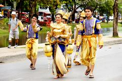Thai people on the parade in ChiangMai Flower Festival 2013 - stock photo