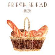 Fresh bread baker basket illustration Stock Illustration