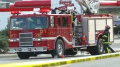Firetruck tight frame Stock Footage