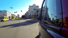 The car rides around town. Stock Footage