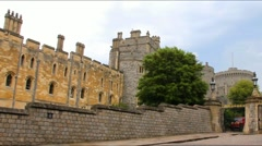 Stock Video Footage of Panoramic video  of   stone walls, buildings and towers near gate to Windsor