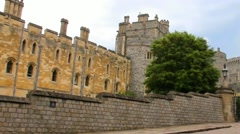 Stock Video Footage of Panoramic video  of   stone walls, buildings, towers near metal gate  of Windsor