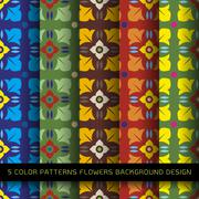 Set of 5 colors patterns with flowers and abstract decorative elements design - stock illustration