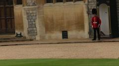 Queen's Guard near one of the building inside Windsor Castle Stock Footage