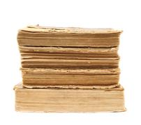 Stack of old decrepit books isolated - stock photo