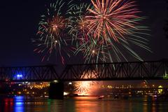 12th festival of fireworks in Novosibirsk - stock photo