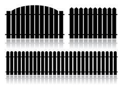 Black fence isolated on white Stock Illustration
