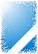 Blue winter frame with snowflakes and ribbon Stock Illustration