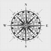 Compass rose over grid. Vector illustration. Stock Illustration