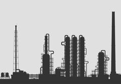 Oil refinery or chemical plant silhouette. Stock Illustration