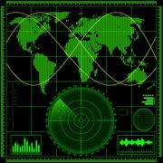 Radar screen with world map - stock illustration