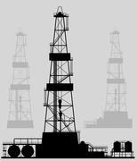 Oil rigs silhouette. Detailed vector illustration. - stock illustration