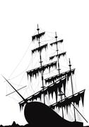 Black old ship at the sea ground - stock illustration