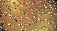 Abstract rotating gears in gold color Stock Footage