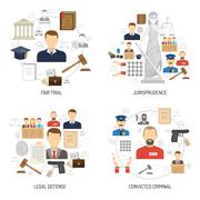 Justice 4 flat icons square banner - stock illustration