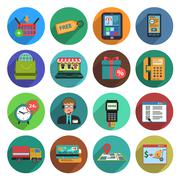 Online Shopping Flat Icon Set Stock Illustration