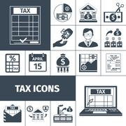 Tax And Fees Flat Icon Set Stock Illustration