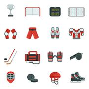 Hockey Decorative Icon Set - stock illustration