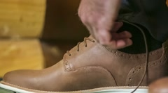 Casual Shoes Lacing Stock Footage