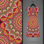 Stock Illustration of Ethnic floral seamless pattern with dress