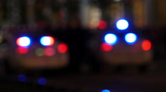 Police flashers in blurs Stock Footage