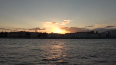 Russia Saint-Petersburg 2015 Sunset at Neva river Stock Footage