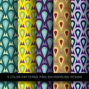 Set of 5 colors patterns with pins and abstract decorative elements design Stock Illustration