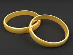 Illustration of two wedding gold rings Stock Illustration
