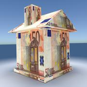 3d house from the mone euro - stock photo