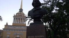 Russia Saint-Petersburg 2015 Admiralty and Glinka statue zoom in 2 Stock Footage