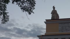 Russia Saint-Petersburg 2015 Admiralty statue and clouds Stock Footage
