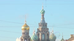Russia Saint-Petersburg 2015 Savior on Spilled Blood and bubbles Stock Footage