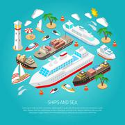 Sea and ships concept - stock illustration