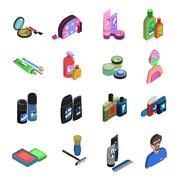 Bodycare Isometric Icon Set - stock illustration