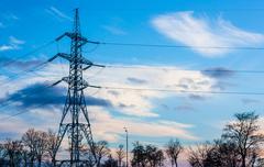 Technology, energy. Power line. - stock photo