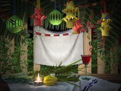 Symbols of the Jewish holiday Sukkot with palm leaves and candle - stock illustration