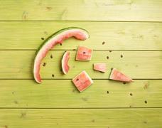 Eaten watermelon composition Stock Photos