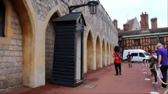 Queen's Guard at Windsor Castle Stock Footage