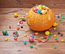 Trick or treat pumpkin composition - stock photo