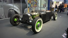 4k Classic Ford Hot Rod at motorshow indoor exhibition Stock Footage