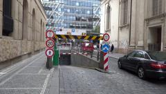 Underground parking entrance in Prague, Czech Republic Stock Footage