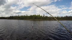 4k fishing view with lure in foreground Stock Footage