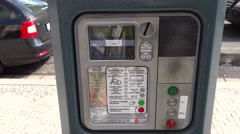 Parking meter in Prague, Czech Republic Stock Footage