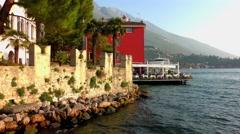 Houses of Malcesine at Lake Garda Stock Footage